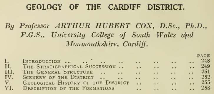 Geology of the Cardiff District, British Association Handbook