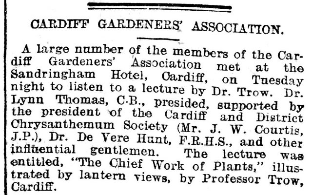 Cardiff Gardeners'Association, Evening Express 5th October 1904