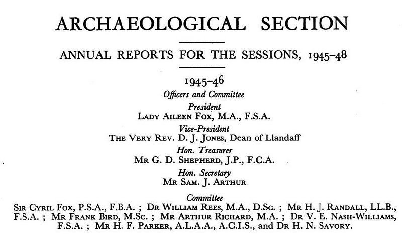 Archaeloglocal section Committee 1945-46