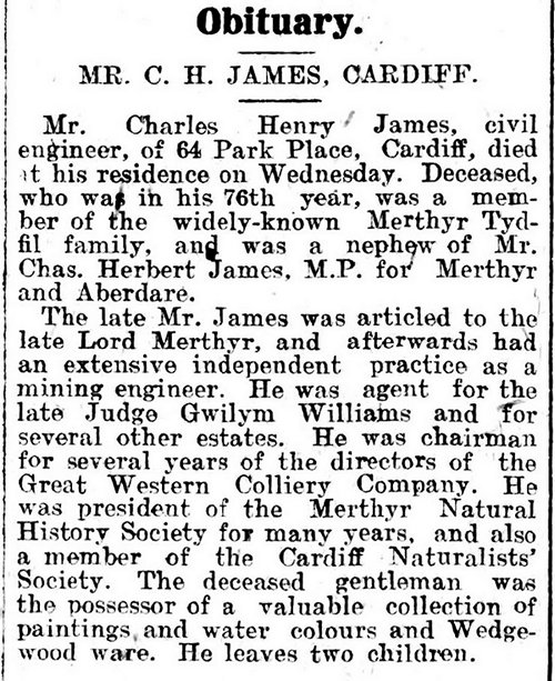 Obituary, The Aberdare Leader 7th November 1914