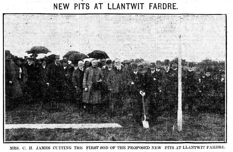 Evening Express 14th October 1909, Mrs. C. H. James Cutting The First Sod Of The Proposed New Pits At Llantwit Fardre