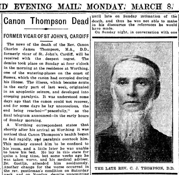 Evening Express 8th March 1909 Canon Thompson Dead