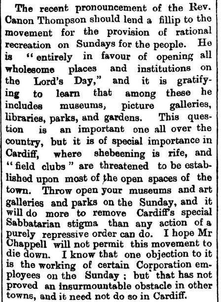 Sunday opening support, South Wales Echo 13th May 1893