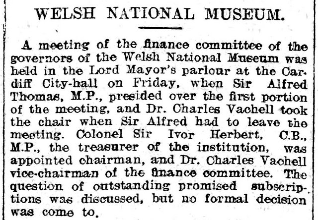 National Museum committee, Evening Express 20th June 1908