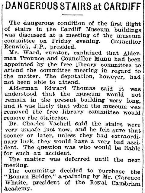 Cardiff Museum committee, Evening Express 30th June 1906