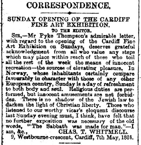 Sunday Opening Of The Cardiff Fine Art Exhibition South Wales Daily News 9th May 1884