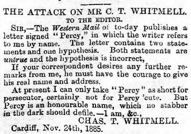 South Wales Daily News 25th November 1885 The Attack On Mr C. T. Whitmell