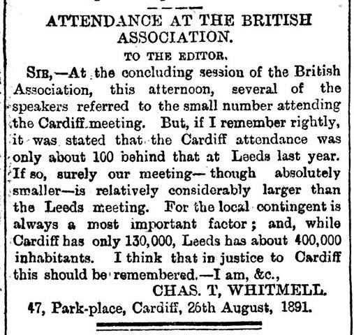 South Wales Daily News 27th August 1891 Attendance at The British Association