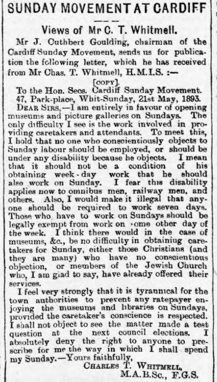 South Wales Echo 30th May 1893 Sunday Movement At Cardiff