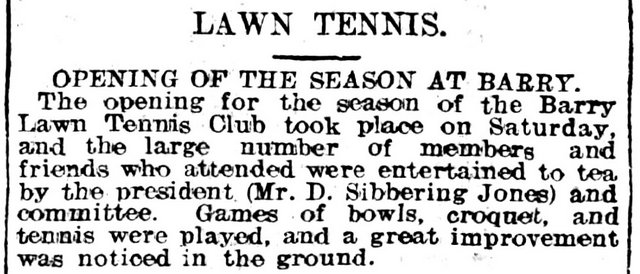 Lawn Tennis, Evening Express 28th May 1906