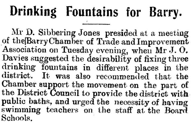 Drinking Fountains for Barry, Barry Herald 17th July 1896