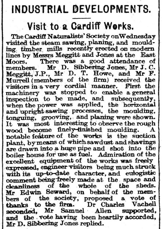 Visit to a Cardiff Works, The Cardiff Times 11th June 1910