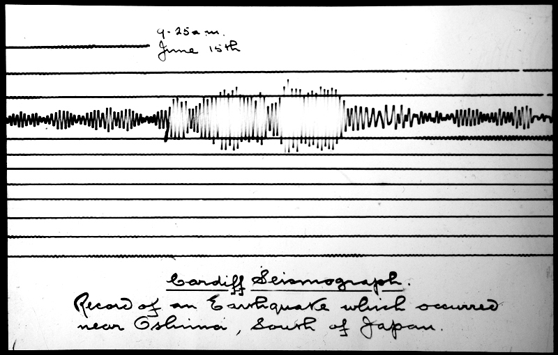 Trace from the Cardiff Seismograph