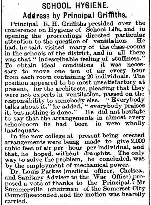 School Hygiene. Address by Principal Griffiths, The Cardiff Times 18th July 1908