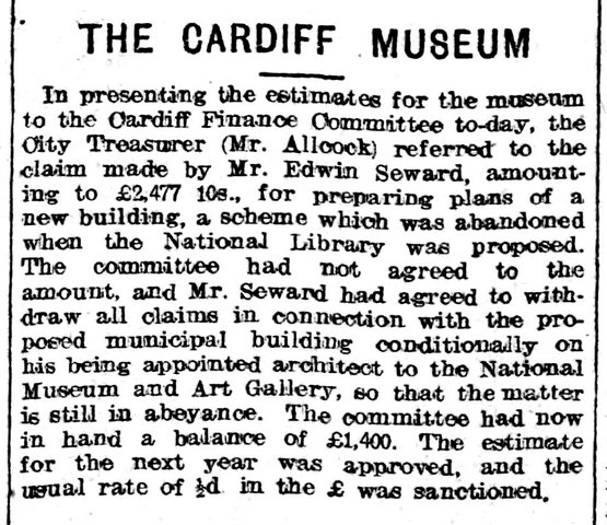 Cardiff Museum. Evening Express 10th March 1908