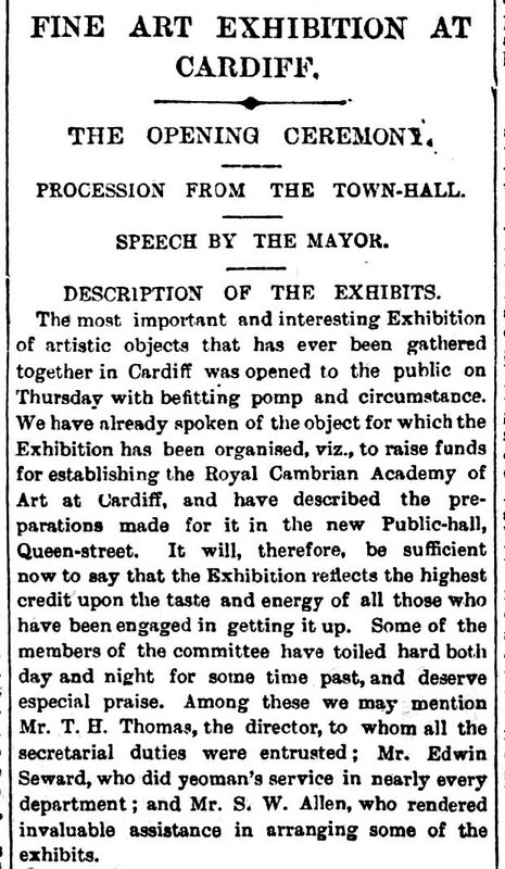 Fine Art Exhibition At Cardiff Weekly Mail 23rd February 1884