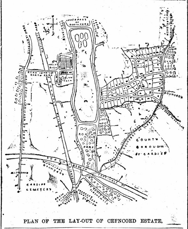 Plan Of The Lay-Out Of Cefncoed Estate, Development Of The District. Evening Express 1st August 1894