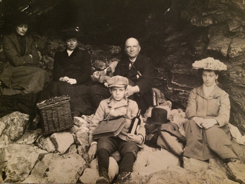 Sybil Corbett (friend), Winifred Vachell (EV's mother), Charles Vachell (EV's father), Eleanor, with brother Eustace in front on a Family holiday in Ireland