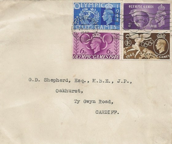 1st Day Cover sent to G D Shepherd