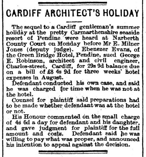 Excerpt from The Cardiff Times 22nd October1910