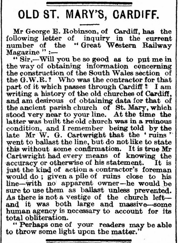 Old St. Mary's, Cardiff, The Cardiff Times 7th May 1910