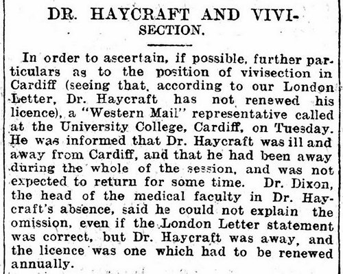 Dr. Haycraft And Vivisection, Evening Express 14th June 1899