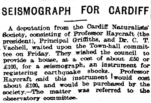 Seismograph for Cardiff, Evening Express 15th June 1907