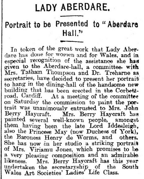 Portrait to be Presented to Aberdare Hall,Evening Express 10th December 1894