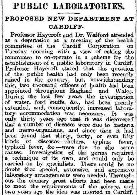 Public Laboratories. Proposed New Department At Cardiff, Evening Express 23rd March 1897