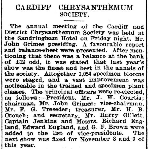Cardiff Chrysanthemum Society , Evening Express 4th February 1905