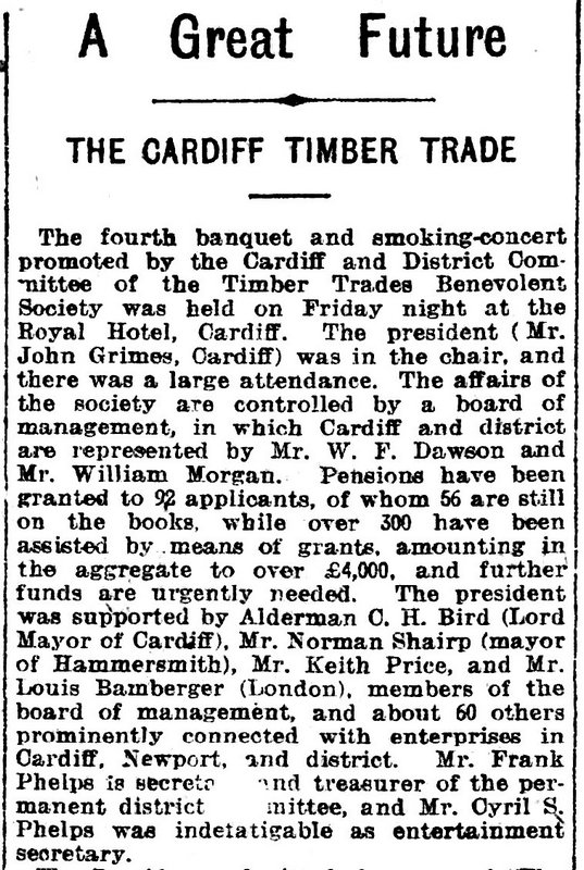 A Great Future The Cardiff Timber Trade Evening Express, 26th November 1910