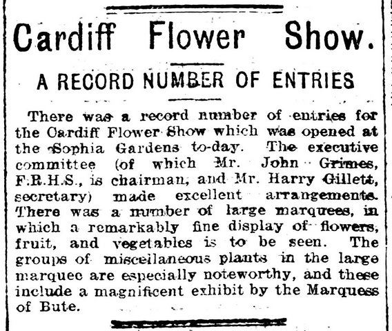 Cardiff Flower Show, Evening Express 26th July 1905