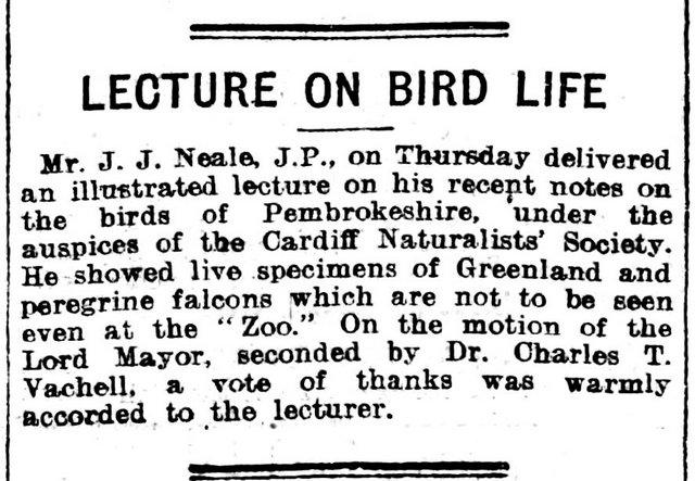 Lecture On Bird Life , Evening Express 25th November 1910