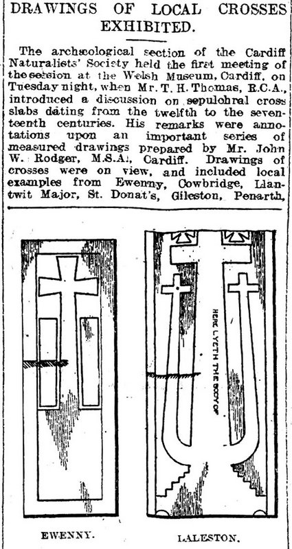 Cardiff Archaeologists. Drawings Of Local Crosses Exhibited, Weekly Mail 21st November 1908