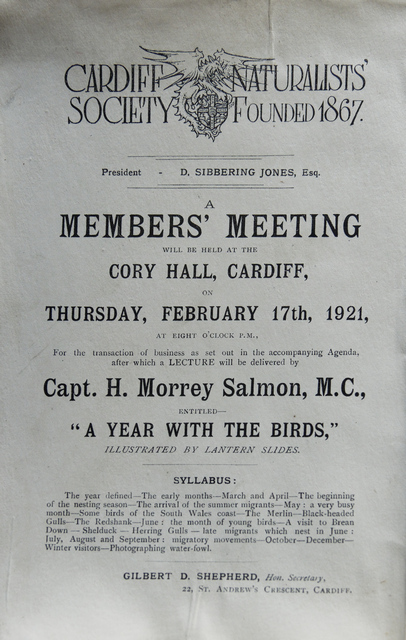 Lecture Programme from 1921 - Morrey Salmon's First lecture to the society