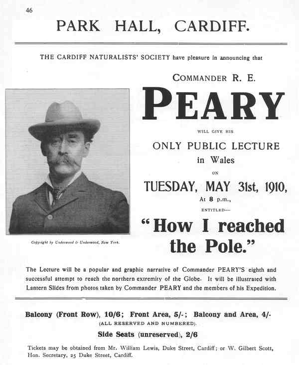 Commander R E Peary event poster from the society Transactions