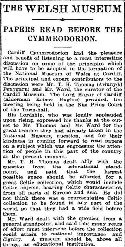 T H Thomas speaking to the  Cardiff Cymmrodorion, Weekly Mail 11th November 1905