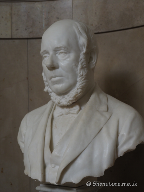 Bust of William Adams in marble created by Edward Onslow Ford in 1886-7 Comissioned by the Cardiff Naturalists' Society and Others