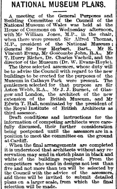 National Museum Plans,The Cardiff Times 22nd May 1909