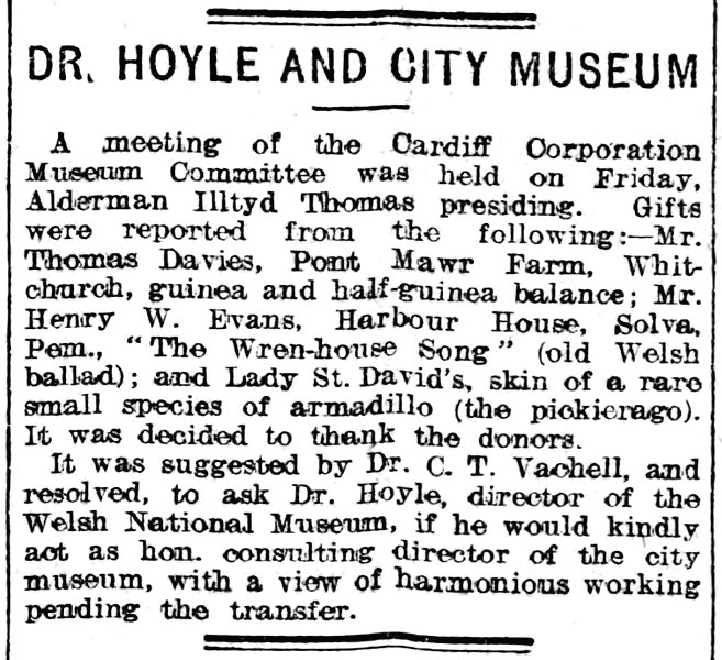 Dr. Hoyle And City Museum , Evening Express 19th December 1908