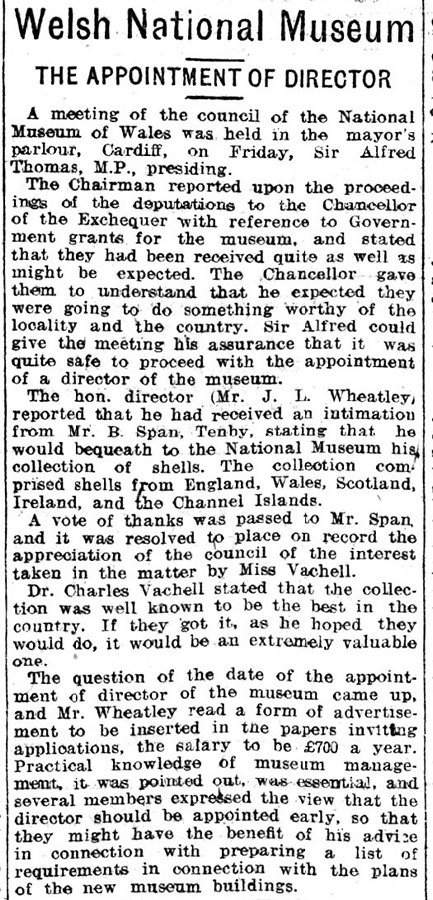 Welsh National Museum, The Appointment Of Director, Evening Express 26th September 1908
