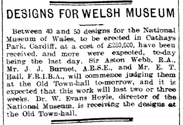 Designs For Welsh Museum, Evening Express 31st January 1910