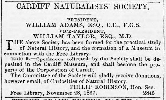 CNS founded Cardiff Times Sat nov 30 1867