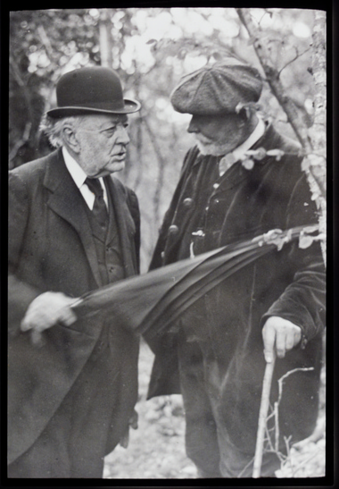 Robert Drane Talking to an unidentified member of the society