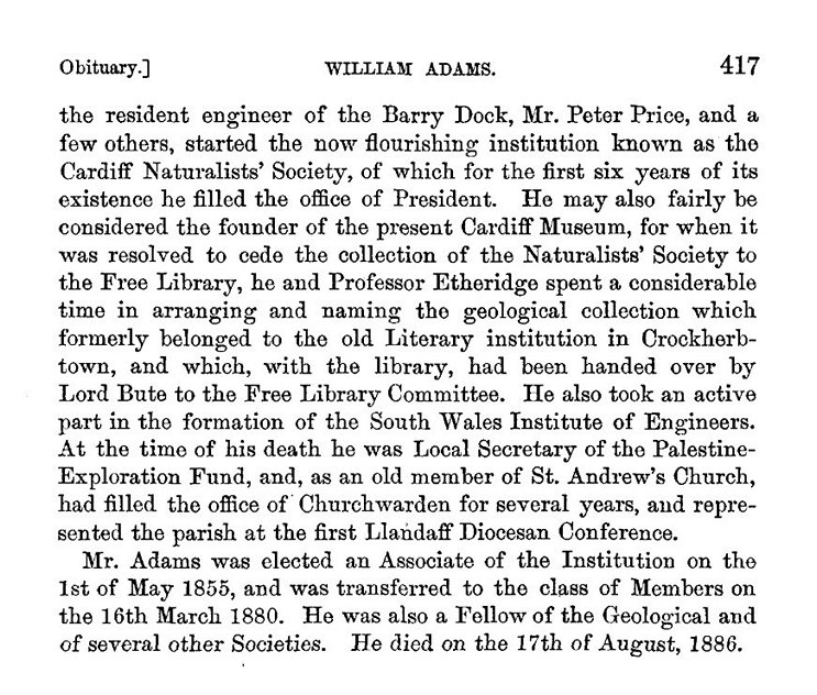 William Adams (1813-1886) obituary