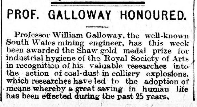 The Cardiff Times 28th November 1908 Prof. Galloway Honoured
