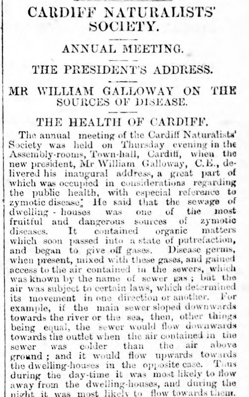 The Cardiff Times 27th January 1883 Mr William Galloway On The Sources Of Disease. The Health Of CardifF