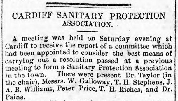 Weekly Mail 12th January 1884 Cardiff Sanitary Protection Association