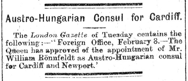 Austro-Hungarian Consul for Cardiff Evening Express 14th February 1894