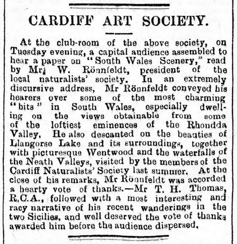 Lecture to Cardiff Art Society  South Wales Daily News 15th January 1890